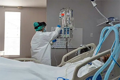 Covid patient on ventilator