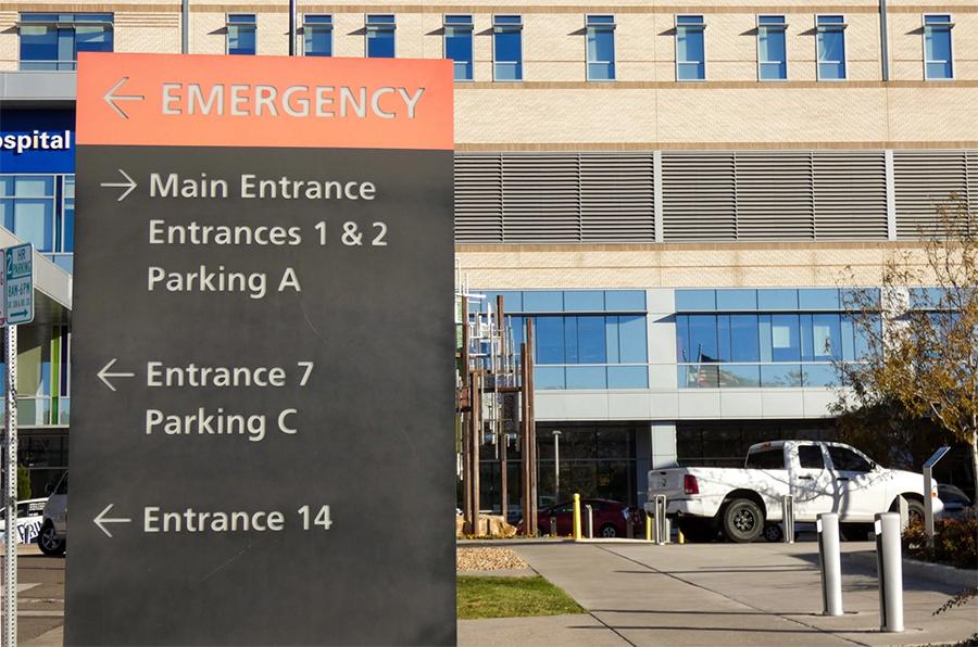 Outside Saint Joseph Hospital in Denver
